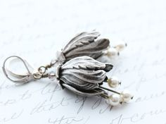 Antique Silver Earrings Tulip Earrings Dangle by apocketofposies