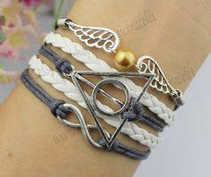 Love & Harry potter bracelet,Deathly Hallows,Infinity bracelet,Owl Wing Bracelet,Silver Wings