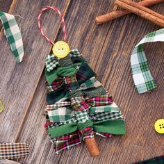 Just in time for Christmas, learn how to make Primitive Scrap Fabric Tree Ornaments from fabric remnants, cinnamon sticks, and buttons.This DIY is an easy and fun Christmas craft for kids. #christmas #ornaments #kids Fabric Tree, Scrap Fabric, Fabric Remnants, Fabric Scraps, Diy Christmas Ornaments, Primitive Christmas Tree, Ribbon On Christmas Tree, Christmas Fabric, Christmas Crafts For Kids