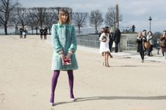 Anya Ziourova's bright pastel tights had a statement-making effect with her equally bright coat.
