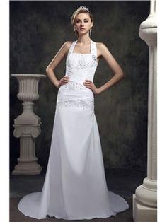 Elegant A-Line Halter Chapel Appliques Dasha's Wedding Dress Beach Wedding Dresses