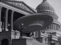 """One of the UFOs crashes into the Capitol Building in """"Earth Vs. The Flying Saucers"""", 1956, with stop-motion Special Effects by Ray Harryhausen"""