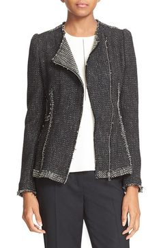 Free shipping and returns on Rebecca Taylor Asymmetrical Zip Tweed Jacket at Nordstrom.com. The rich texture of fall returns with a jacket tailored from Italian tweed in a fitted silhouette accentuated with reverse contrast trim and detailed with raw-cut edges. A moto-inspired asymmetrical zip front enhances the sleek cut.