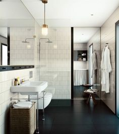 This bathroom is a terrific contemporary take on a traditional look.