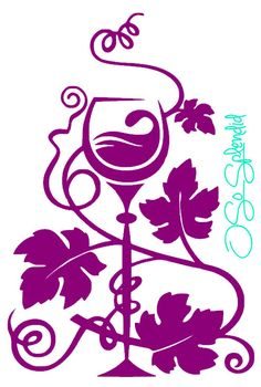 Decorative Wine Glass Grape Leaves & Vine  Kitchen by OSoSplendid