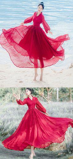 trendy-red-chiffon-dress-v-neck-lantern-sleeve-summer-dress-big-hem-bridesmaid-dress