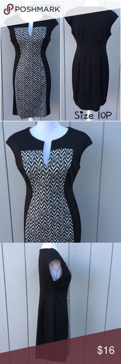"Black & White Chevron Color Block Dress NWOT.  Sz 10P.  From Connected.  Black and white chevron color block dress.  Cap sleeves.  Zipper back.  80% polyester, 16% rayon, 4% spandex – soft knit texture, some stretch.  Dress length: 35"". Bust: 38"". Waist: 34"". Hips: 40"".     Love it but not the price - I'm open to (reasonable) offers or consider bundling 2 or more items for an additional 15% off and combined shipping!  Check out me reviews - I only sell great quality items! Connected Dresses…"