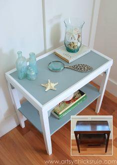 Two Tone Side Table Makeover - Themed Furniture Tour - artsychicksrule.com #milkpaint #makeover #diy (3)