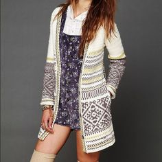 Free people Annabelle cardigan snow bunny Size small. Has pulling and some signs of wear. On the inside, there is snagging but not visible when worn. Free People Sweaters Cardigans