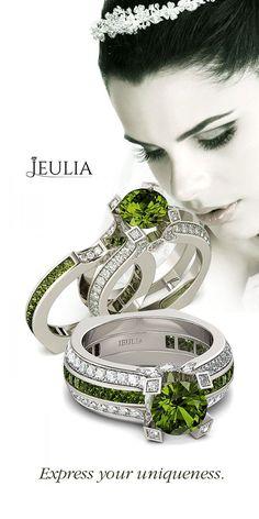Interchangeable Round Cut Created Peridot Women's Wedding Set #Jeulia