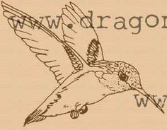 Humming bird rubber stamp Wood Mounted and deep etched. $6.50, via Etsy.