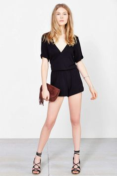 Silence + Noise Surplice Rolled-Sleeve Romper