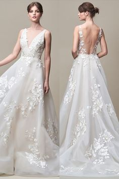 Jenny Yoo Collection 2018 • BRIDAL • 'Jackie' Gown // Gorgeous Floral Beaded Embroidery // Backless Sheer Illusion Panels, V-neckline, Unique and Modern Silhouette // Romantic and Boho Wedding Dress