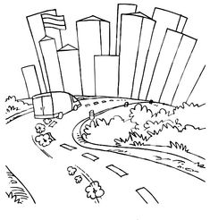 Drawing City Scenes Coloring Page for Kids: Drawing City