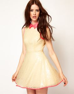 Lashes Of London Sequin Skater Dress with Neon Collar - if i only had somewhere to wear this ...