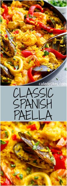 Paella This Classic Spanish Paella rivals any restaurant Paella! A handed down recipe for a classic seafood Paella, one of the most popular dishes to come out of Spain! Complete with the toasty, crispy, golden crust on Fish Recipes, Seafood Recipes, Mexican Food Recipes, Dinner Recipes, Cooking Recipes, Healthy Recipes, Cooking Rice, Spanish Food Recipes, Healthy Food