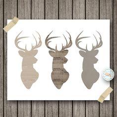 Woodland Rustic Buck Deer Head Art Prints by OrangeWillowDesigns Deer Mount Decor, Deer Decor, Buck Deer, Oh Deer, Music Crafts, Deer Art, Rustic Art, Ribbon Art, Sketch Inspiration