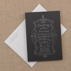 French Filigree - Invitation from Carlson Craft - Item Number: RR7290NGI - A French filigree design displayed in silver is shown on this black shimmer invitation. #CarlsonCraft #VintageWedding