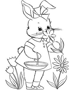 Cute Bunny Picking Flower Coloring Page