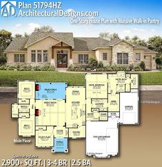 Plan One-Story House Plan with Massive Walk-in Pantry - Architectural Designs House Plans - House Plans One Story, One Story Homes, Ranch House Plans, Craftsman House Plans, New House Plans, Dream House Plans, Story House, House Floor Plans, Basement Floor Plans