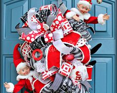 Elf Christmas Wreath | Xmas Wreath | Front Door Christmas Wreaths | Perfect Holiday Wreaths | Large Elf Wreath | Teardrop Swag | Deco Mesh