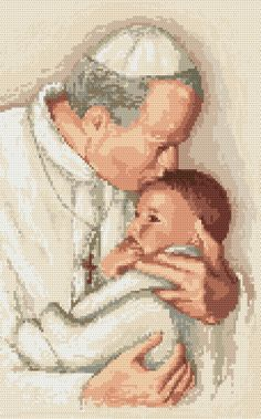 Pope John Paul II Pope John Paul Ii, Counted Cross Stitch Patterns, Embroidery Kits, Cross Stitching, Needlepoint, Spiritual, Canvas Prints, Tapestry, Craft Ideas