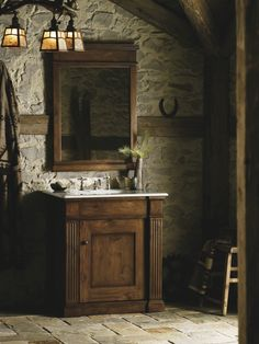The Thistledown vanity from Kohler lends a heirloom quality to your bathroom with its knotty pine wood construction and striking details Home Depot Bathroom, Cabin Bathrooms, Kohler Toilet, Vanity Sink, Bathroom Vanities, Sinks, Bathroom Ideas, Modern Contemporary Homes, Wood Construction
