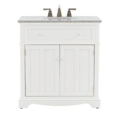 Home Decorators Collection Fremont 32 in. Vanity in White with Granite Vanity Top in Grey-2943800410 - The Home Depot