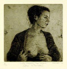 Lady exposing her bosom (after Tintoretto), 2010  Artist: Graeme Drendel  Medium: etching  Dimensions: 15 x 15 cm  Edition: 10