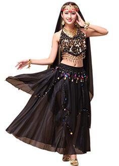 c4c5ecab25 Beverly Womens Belly Dance Costume Set Tribal Dance Skirt 5 Pieces black --  BEST VALUE