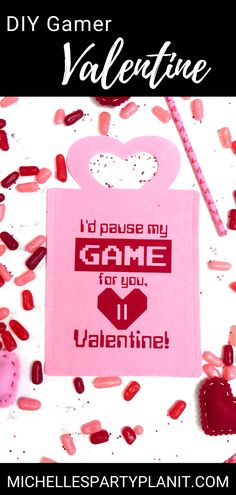 Share the love with the Gamer in your life with this fun DIY Gamer Valentine Treat Bag. Made by Michelle's Party Plan-It with Cricut Valentine Treats, Valentines Day Party, Little Games, Cricut Explore Air, Iron On Vinyl, Diy Games, Love Design, Fun Diy, Treat Bags