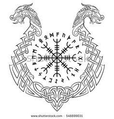 Vegvisir, Icelandic magical staves and the Scandinavian pattern in the form of a . - Vegvisir, Icelandic magical staves and the Scandinavian pattern in the form of a … - Norse Runes, Viking Runes, Viking Shield, Norse Mythology, Norse Tattoo, Celtic Tattoos, Helm Of Awe Tattoo, Armor Tattoo, 3d Tattoos