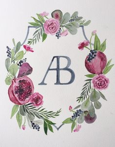 custom watercolor wedding crest by Sable and Gray - AB monogram, pomegranates, winter wedding, navy, red, forest green wedding, wedding heraldry