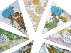Holly Hobbie Vintage & Floral Flag by MerryGoRoundHANDMADE on Etsy, $36.95
