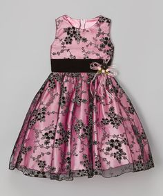Another great find on #zulily! Pink & Black Floral Sash Dress - Infant, Toddler & Girls #zulilyfinds
