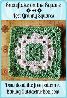 Crochet Granny Square Patterns Baking Outside the Box: Free Snowflake on the Square Crochet Pattern / The Lost Granny Squares Collection. - Snowflake on the Square Pattern granny square with free instructions. Crochet Motif Patterns, Crochet Blocks, Granny Square Crochet Pattern, Granny Square Blanket, Crochet Squares, Crochet Granny, Crochet Yarn, Granny Squares, Granny Granny