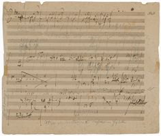 Up for auction on January 15, 2014 is a rare Beethoven manuscript that could top $200k.  The manuscript is an extraordinarily important autograph sketchleaf for Beethoven's Missa Solemnis that dates back to 1820–21.  Unknown until 1996, this manuscript was discovered among the papers of Anton Schindler, Beethoven's private secretary and earliest biographer.