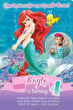 The Little Mermaid Ariel Birthday Custom Invitations Waddress - Custom ariel birthday invitations