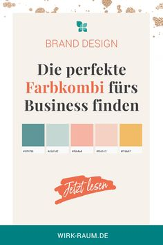 Farbpalette Branding You can read here how to create the perfect color palette for your brand design as a self-employed person. Business Branding, Business Card Design, Identity Branding, Kids Branding, Visual Identity, Business Cards, Web Design, Logo Design, Corporate Design