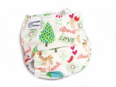 Fitted Cloth Diaper, OS, Flannel - Animal, Friends, Giraffe, Birds, Turtles, Trees. $12.00, via Etsy.