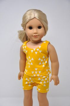 Yellow with White Triangle Print Tank Top and Shorts Set Pajama Set 18 Inch Doll Clothes