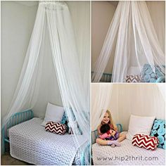 DIY Canopy bed using a embroidery hoop. Perfect to keep you safe at night from spiders or bugs.