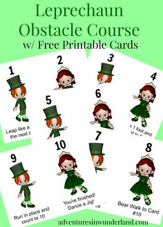 Leprechaun Obstacle Course for Kids with Printable Cards via @wunder_mom