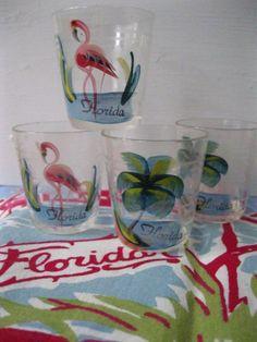 Vintage Florida souvenir shot glasses - set of 4 with flamingos and palm trees