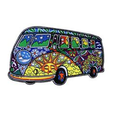 Love Peace Hippy Bus Patch 11cm x 7cm Embroidered Iron Sew On Floral Flower