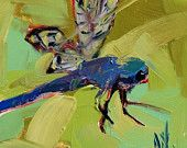 30% OFF Dragonfly original insect oil painting by Angela Moulton 4 x 4 inch on birch panel ready to hang FREE SHIP