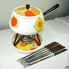 Vintage Swiss Fondue Set  White Enamel with by SarahsRetroChic, $44.00