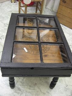 Old window turned coffee table - Can't wait to make this out of the windows from my childhood home!!! Love this!!