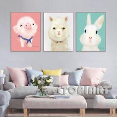 TOO COOL: 3 Piece Cute Mode.... Lowest Price Here: http://www.rousetheroom.com/products/3-piece-cute-modern-animal-canvas-art-set?utm_campaign=social_autopilot&utm_source=pin&utm_medium=pin