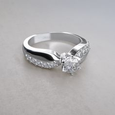 Contour Curve 1/2 ctw Diamond Ring in 14k White Gold